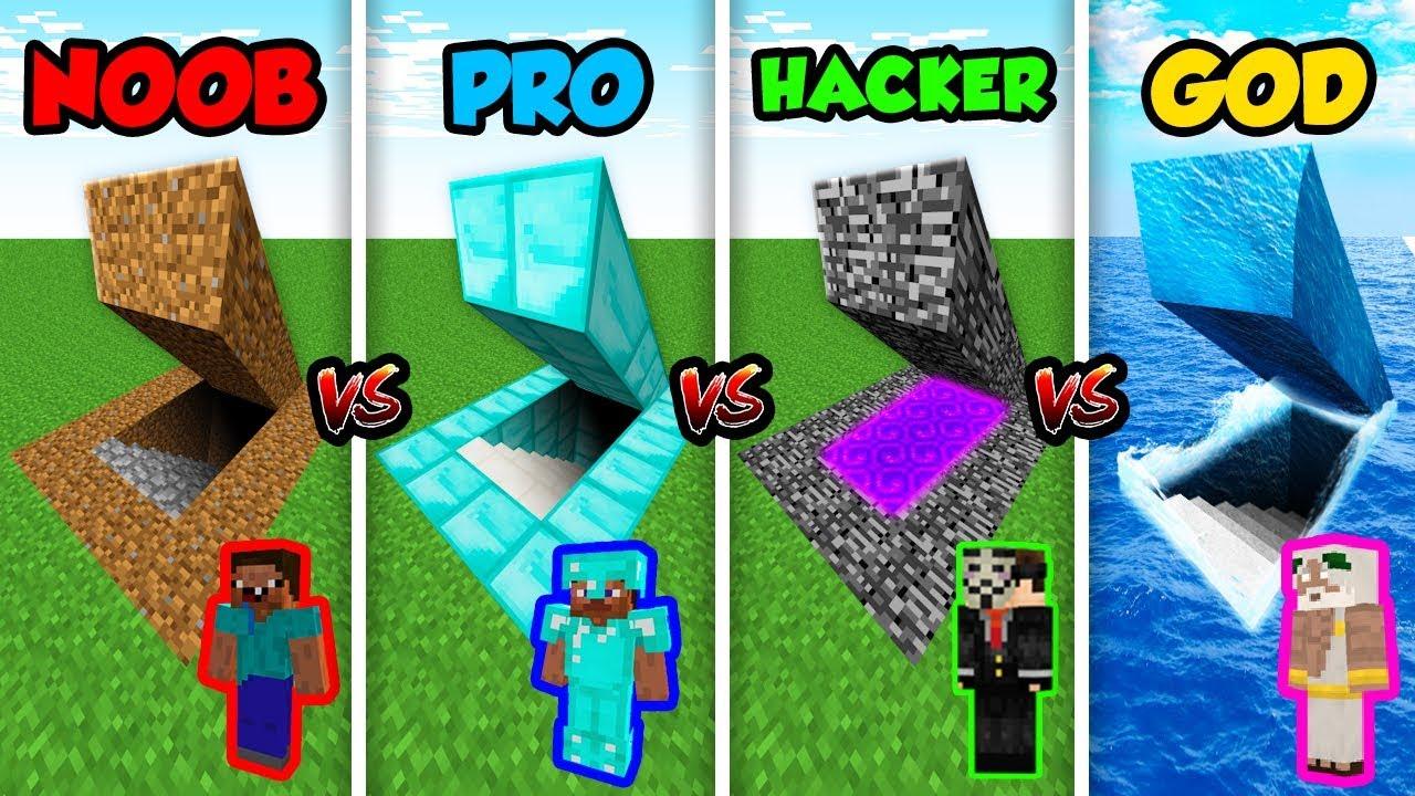Minecraft Noob Vs Pro Vs Hacker Vs God Secret Base In
