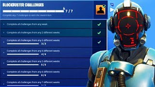 """BLOCKBUSTER"" SKIN UNLOCKED! FREE ""VISITOR"" SKIN Gameplay! Fortnite Battle Royale Week 7 Challenges"
