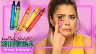 Using CRAYONS as Concealer?! | Makeup Mythbusters w/ Tessa Brooks