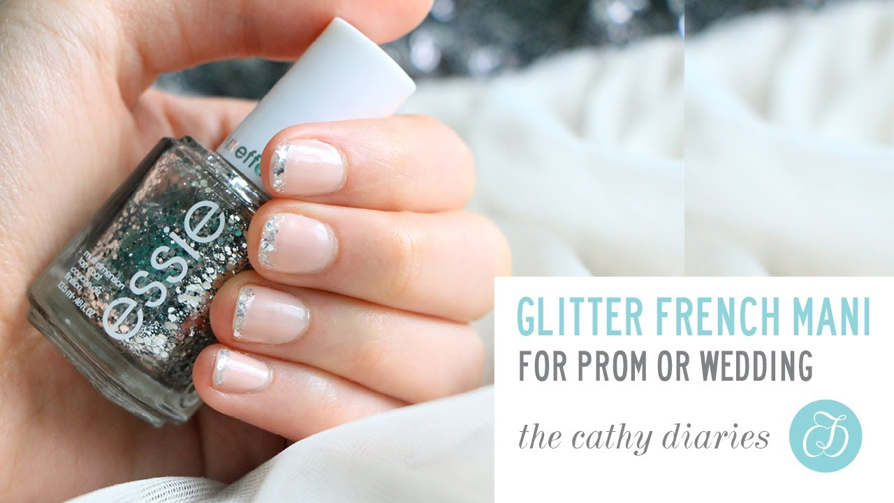 How To Do Glitter French Manicure (Prom Nails) - YouTube