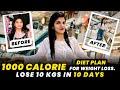 1000 Calorie Diet Plan For Weight Loss | Indian Veg Diet Plan | By imkavy