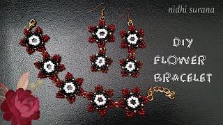 ⚜️ Easy Flower Bracelet || Seed Bead Pulsera Tutorial DIY (0341)