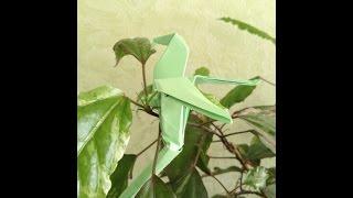 Как сделать из оригами попугая. Оригами попугай, Не модульная схема. Origami Mascot parrot.