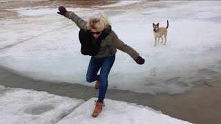 Video Girl and Dog attempt to Jump back to Shore over Icy Water download MP3, 3GP, MP4, WEBM, AVI, FLV Desember 2017