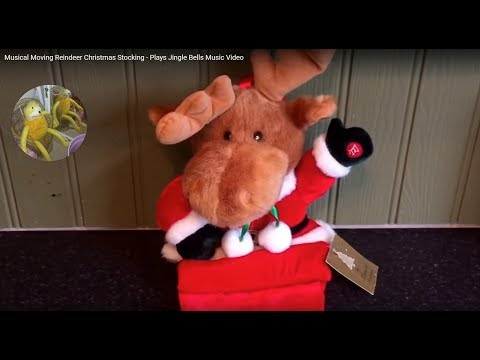 Musical Moving Reindeer Christmas Stocking - Plays Jingle Bells Music Video