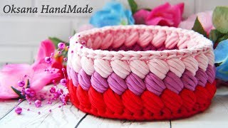 Корзина крючком из трикотажной пряжи. Basket crochet