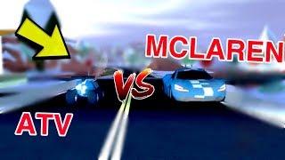 MCLAREN VS ATV IN JAILBREAK ( Roblox )
