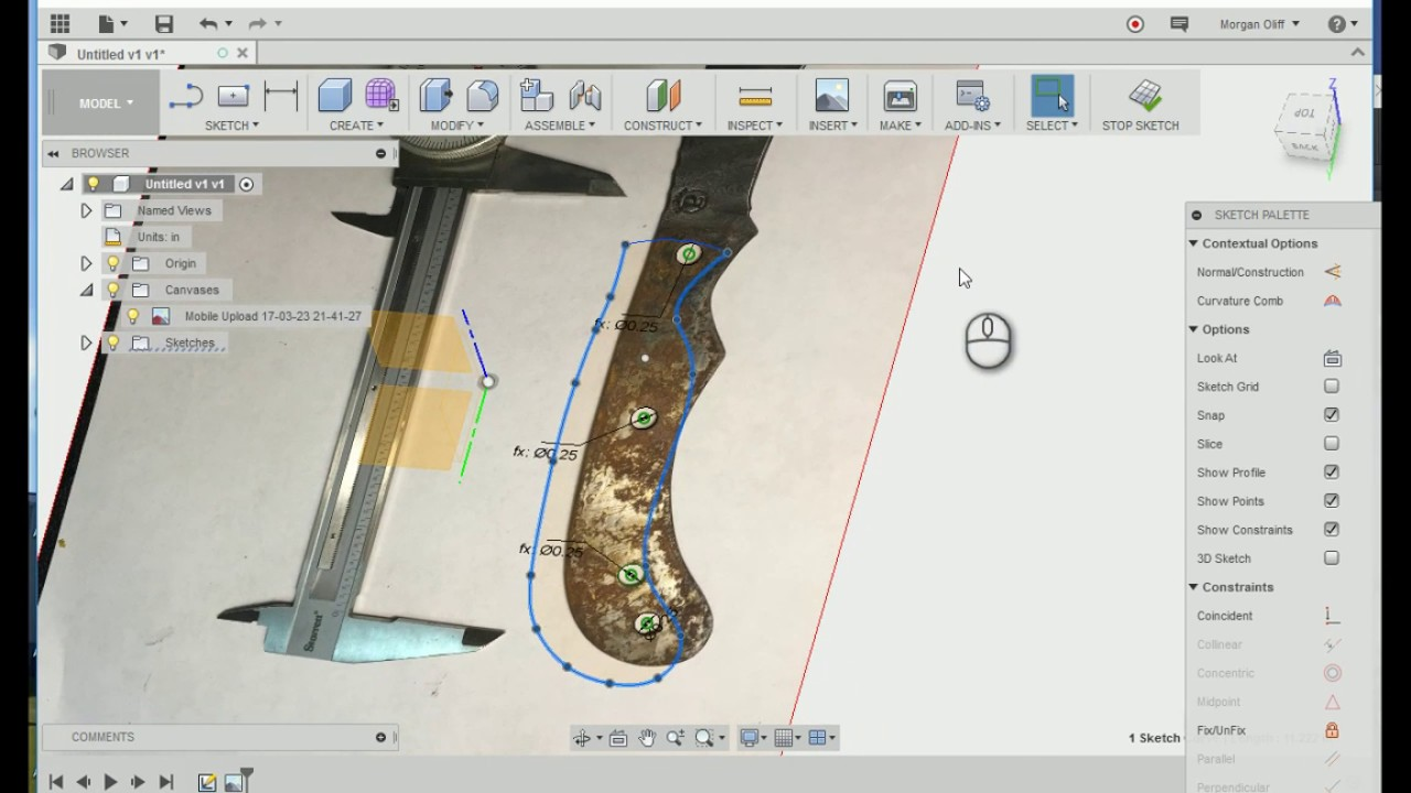 Fusion360, working with attached canvas and doing some splines and CAM