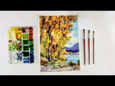 How to draw lake view landscape watercolor painting / watercolor landscape demo art