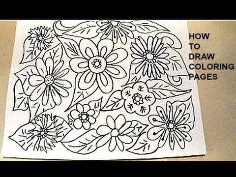 how to draw coloring pages, flowers and leaves, simple kids crafts ...