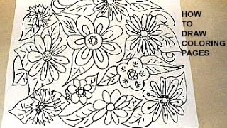 how to draw coloring pages, flowers and leaves, simple kids crafts by Emi