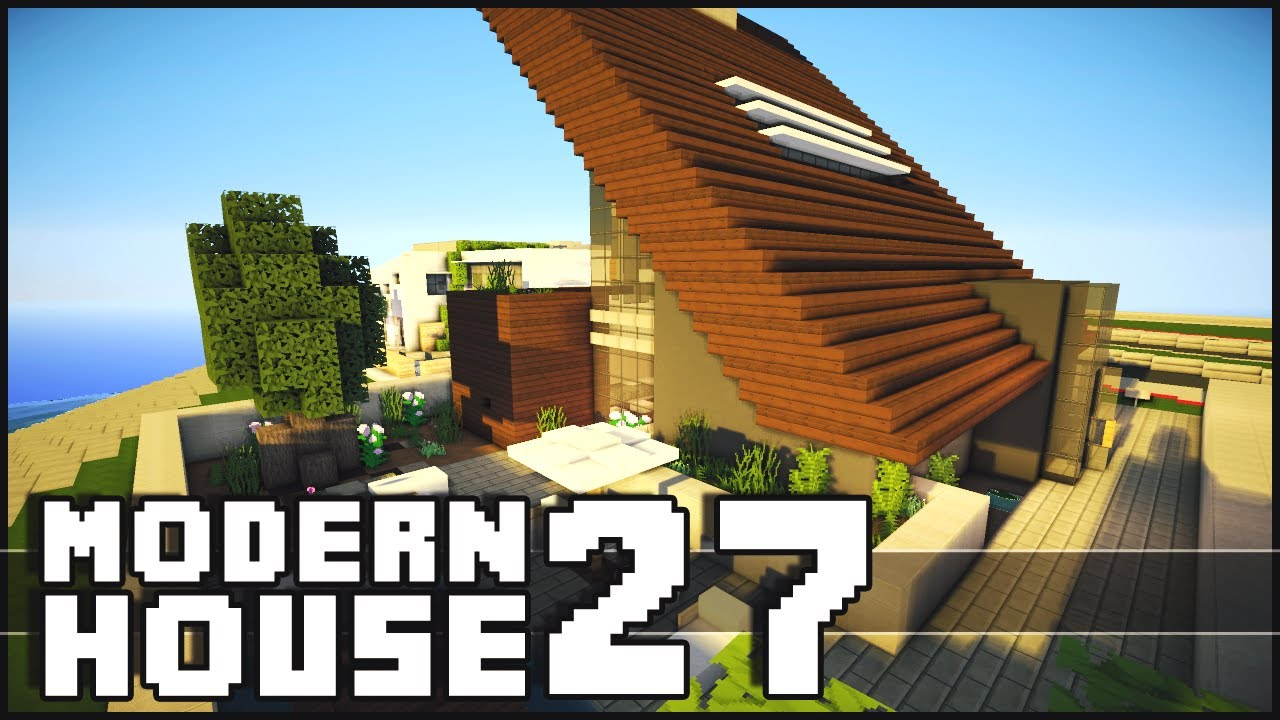 Minecraft modern house 27 youtube for Modern house exterior minecraft