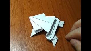 прыгающая ЛЯГУШКА. Как сделать лягушку из бумаги, которая прыгает. Оригами
