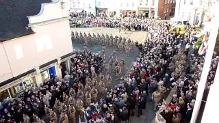 The Royal Regiment of Fusiliers parades through Warwick town centre