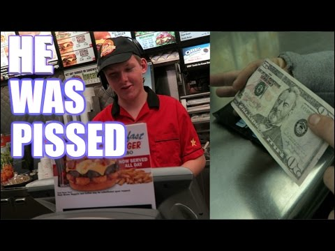 FAKE $50 BILL PRANK ON MCDONALD'S WORKER! ( ANGRY )