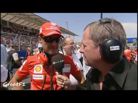 Michael Schumacher and Martin Brundle chat ahead of European GP 2008