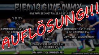 FIFA 13 FUT Coins Giveaway [Auflösung] !!!
