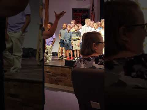 Daytona beach Christian Academy, end of the year celebration. Cooper belting it out