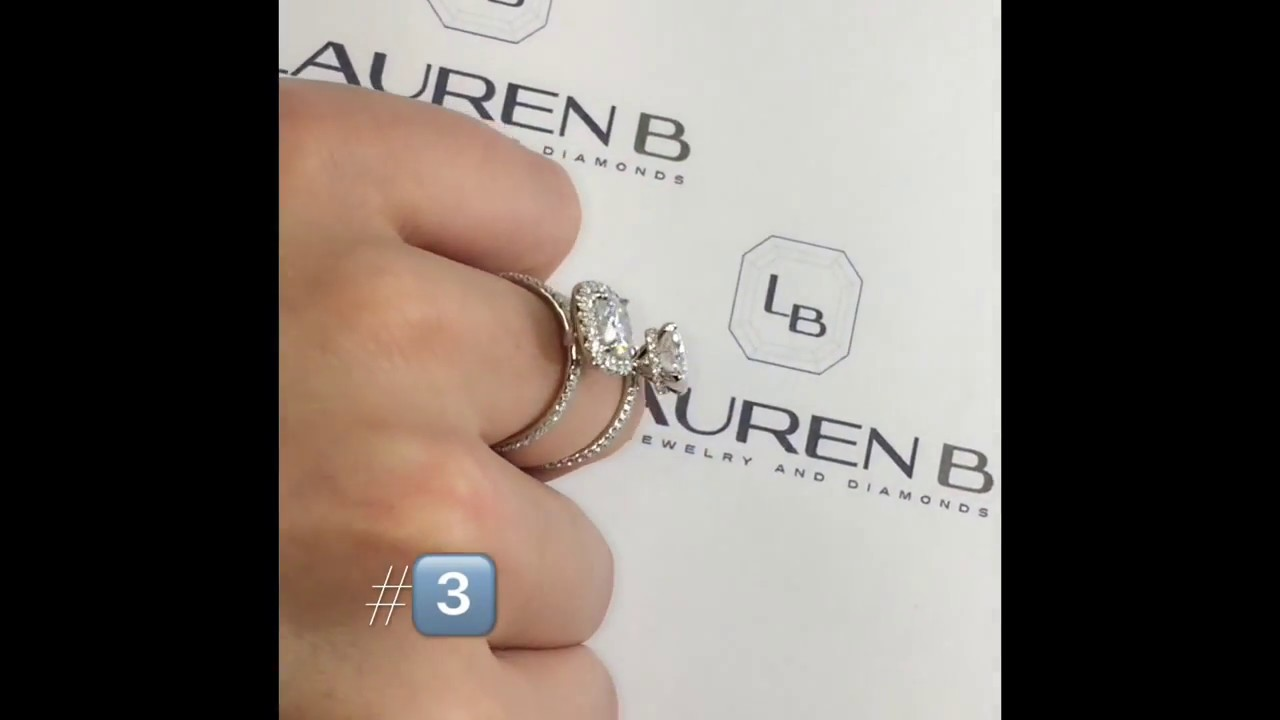 Excellent 2 carat Cushion Cut Moissanite Engagement Rings - YouTube NS09