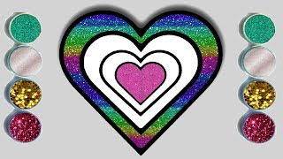 Glitter Hearts Coloring Pages For Kids   How to Draw Hearts?