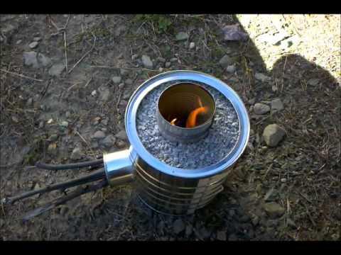 Homemade rocket stove burning test using my diy rocket for Jet stove diy