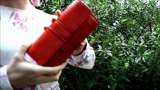 Женский кошелек из натуральной кожи красного цвета. Обзор