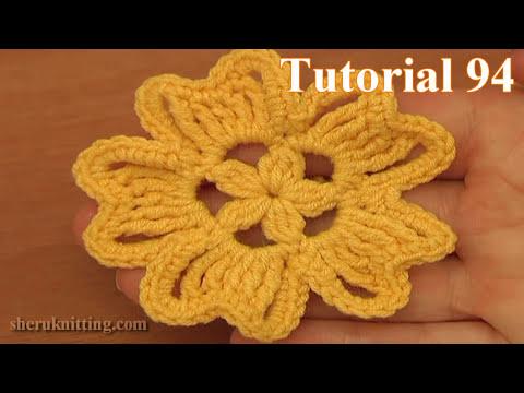 Crochet 5-Petal Flower Tutorial 94 - YouTube