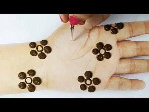बहुत आसान गोल टिक्की मेहँदी लगाना सीखे - झट से गोलटिक्की से मेहंदी लगाए | New Stylish Mehndi Design