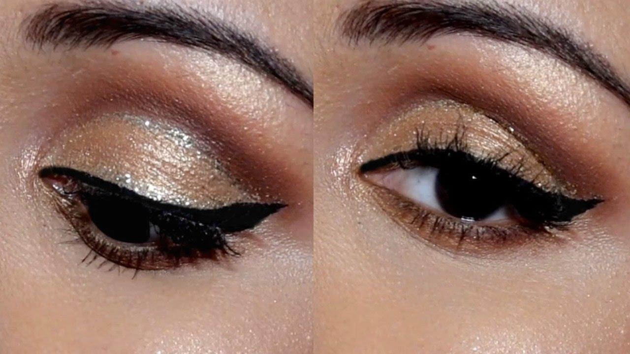 Soft Cut Crease Glitter Eye Makeup Tutorial For Indian Skin Tone