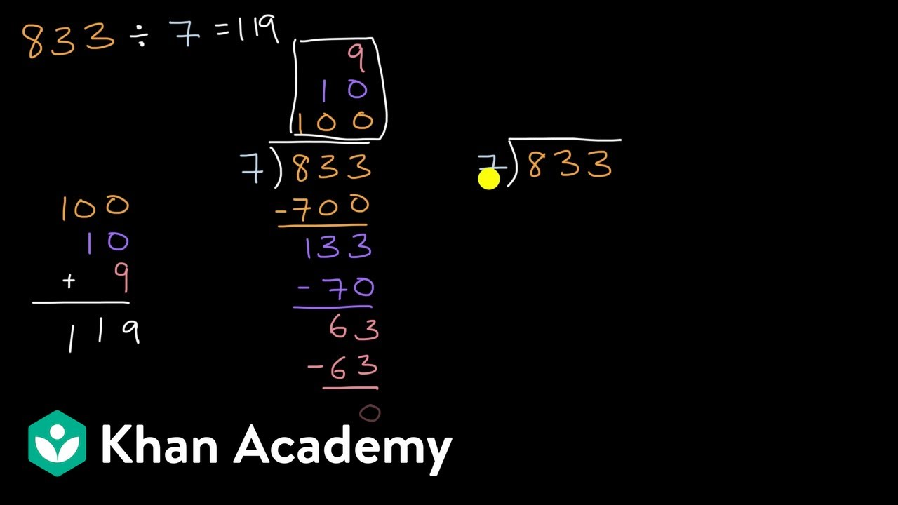 Introduction to division with partial quotients (no remainder) (video)    Khan Academy [ 720 x 1280 Pixel ]