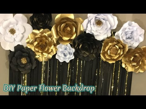 Paper Flower Backdrop | Free Templates | Masquerade Theme backdrop