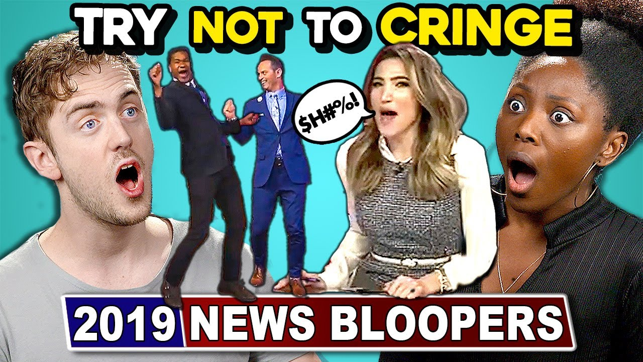 Adults React To TRY NOT TO CRINGE Challenge: 2019 News Bloopers Edition