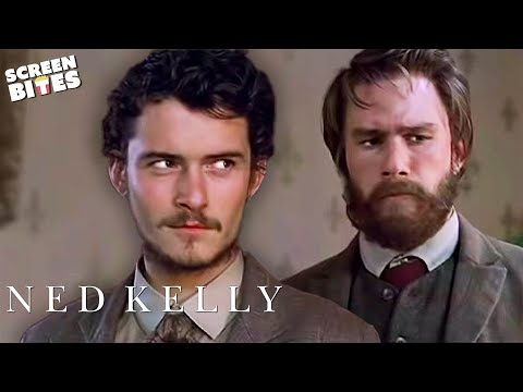 Ned Kelly: Ned (Heath Ledger) and Joseph (Orlando Bloom) carry out a robbery