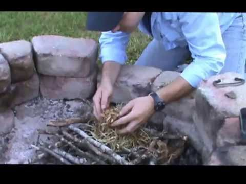 Fire Building with Flint Rock and Steel