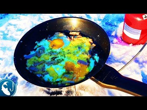 🐟 Как приготовить яичницу зимой на рыбалке вкусный рецепт готовим на природе | Рыбалка с Родионом
