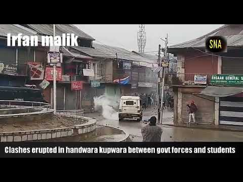 clashes erupted in handwara between students and police watch