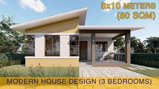 Small House Design Idea (8x10 meters) 80sqm with three bedrooms