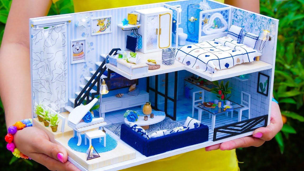 5 Diy Miniature Dollhouse Rooms New Youtube