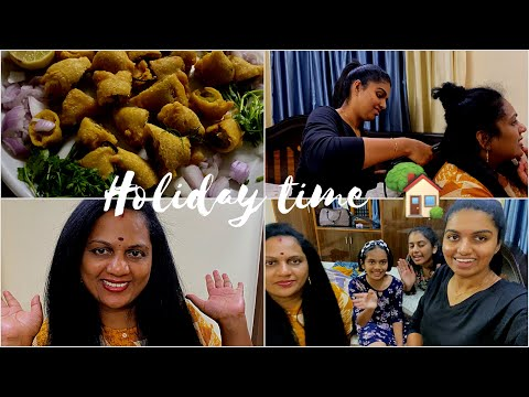 #Vlog22 |Holiday time| |Mom made best mirchi bajji| |Straightening pinni hair 😱| |Juhith vlogs|