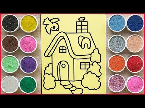 TÔ MÀU TRANH CÁT NGÔI NHÀ HẠNH PHÚC - Colored Sand Painting Full House (Chim Xinh)