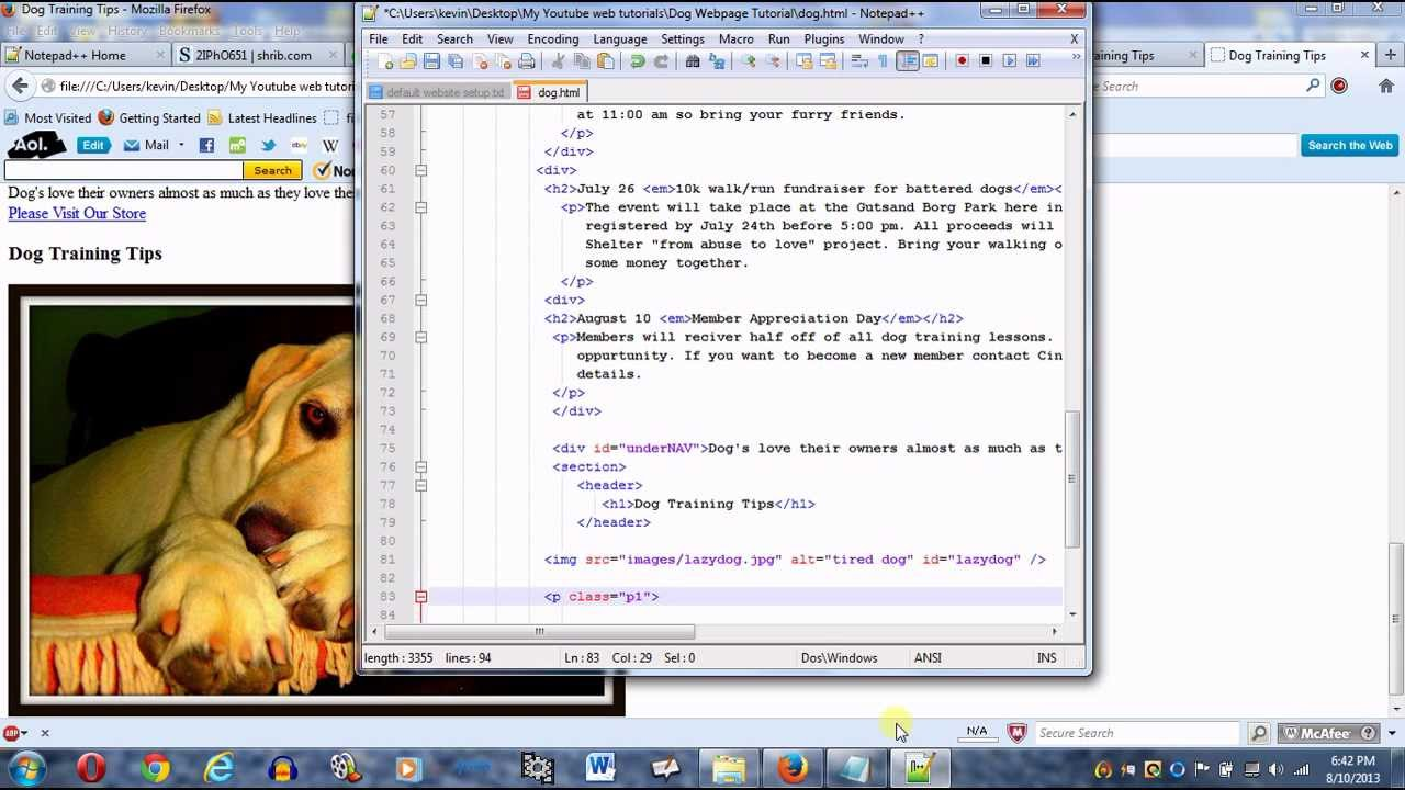 Create a webpage using HTML and CSS part 20