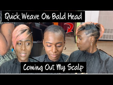 rose-gold-partial-quick-weave-on-bald-head-🧐|-illusion-part-tutorial-(-model-model-hair)