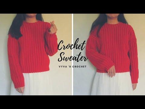 Crochet Sweater   Hướng Dẫn Móc áo Len Tròng đầu Họa Tiết Nổi Gân Siêu Dễ Làm   Vyvascrochet
