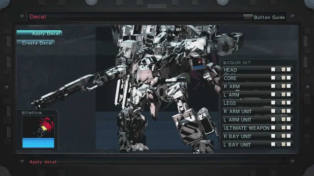 armored core 5 how to get new parts