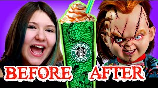 DON'T TRY THE CHUCKY FRAPPUCCINO FROM STARBUCKS! ***Scary Halloween skit***