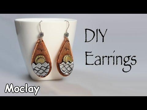 DIY metal earrings. Polymer clay tutorial