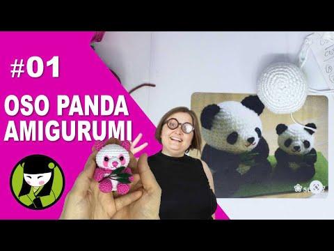 OSO PANDA AMIGURUMI 1 cabeza de oso panda tejida a crochet