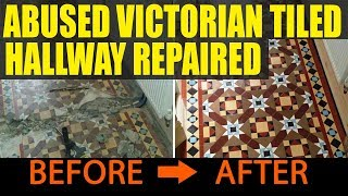 Abused Victorian Tiled Hallway Repaired and Refurbished in Cardiff
