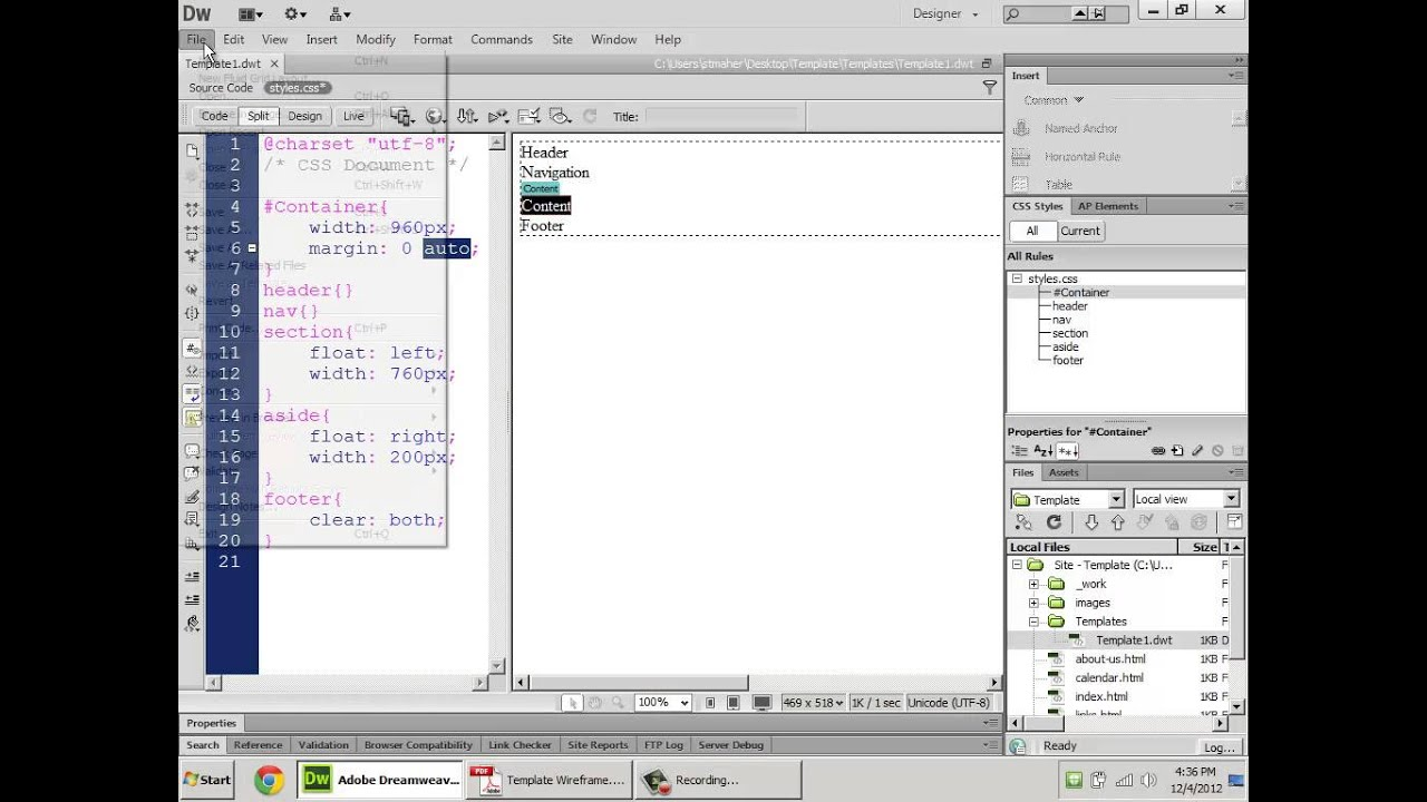 Templated HTML5-CSS Site with Dreamweaver CS6 - YouTube