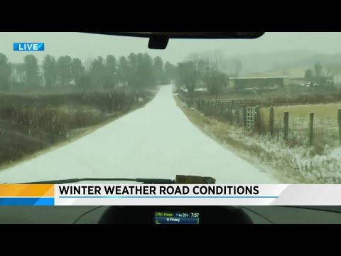 Winter weather road condition update from Bent Mountain Road